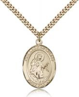 "Gold Filled Our Lady of Mercy Pendant, Stainless Gold Heavy Curb Chain, Large Size Catholic Medal, 1"" x 3/4"""