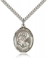 "Sterling Silver Our Lady of Mercy Pendant, Stainless Silver Heavy Curb Chain, Large Size Catholic Medal, 1"" x 3/4"""