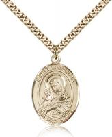 "Gold Filled Mater Dolorosa Pendant, Stainless Gold Heavy Curb Chain, Large Size Catholic Medal, 1"" x 3/4"""