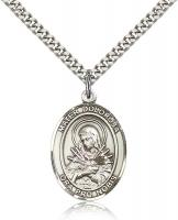 "Sterling Silver Mater Dolorosa Pendant, Stainless Silver Heavy Curb Chain, Large Size Catholic Medal, 1"" x 3/4"""