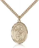"Gold Filled St. Peter Nolasco Pendant, Stainless Gold Heavy Curb Chain, Large Size Catholic Medal, 1"" x 3/4"""