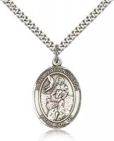 "Sterling Silver St. Peter Nolasco Pendant, Stainless Silver Heavy Curb Chain, Large Size Catholic Medal, 1"" x 3/4"""