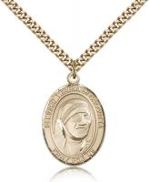 "Gold Filled Blessed Teresa of Calcutta Pendant, Stainless Gold Heavy Curb Chain, Large Size Catholic Medal, 1"" x 3/4"""