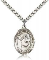 "Sterling Silver Blessed Teresa of Calcutta Pendant, Stainless Silver Heavy Curb Chain, Large Size Catholic Medal, 1"" x 3/4"""