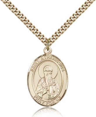 "Gold Filled St. Athanasius Pendant, Stainless Gold Heavy Curb Chain, Large Size Catholic Medal, 1"" x 3/4"""