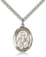 "Sterling Silver St. Athanasius Pendant, Stainless Silver Heavy Curb Chain, Large Size Catholic Medal, 1"" x 3/4"""
