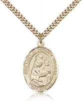 "Gold Filled Our Lady of Prompt Succor Pendant, Stainless Gold Heavy Curb Chain, Large Size Catholic Medal, 1"" x 3/4"""