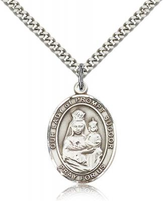 "Sterling Silver Our Lady of Prompt Succor Pendant, Stainless Silver Heavy Curb Chain, Large Size Catholic Medal, 1"" x 3/4"""