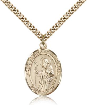 "Gold Filled St. Joseph Pendant, Stainless Gold Heavy Curb Chain, Large Size Catholic Medal, 1"" x 3/4"""