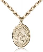 "Gold Filled St. Margaret of Cortona Pendant, Stainless Gold Heavy Curb Chain, Large Size Catholic Medal, 1"" x 3/4"""