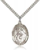 "Sterling Silver St. Margaret of Cortona Pendant, Stainless Silver Heavy Curb Chain, Large Size Catholic Medal, 1"" x 3/4"""
