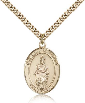 "Gold Filled Our Lady of Victory Pendant, Stainless Gold Heavy Curb Chain, Large Size Catholic Medal, 1"" x 3/4"""