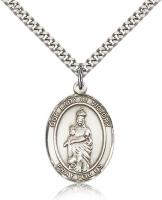 "Sterling Silver Our Lady of Victory Pendant, Stainless Silver Heavy Curb Chain, Large Size Catholic Medal, 1"" x 3/4"""