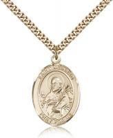 "Gold Filled St. Meinrad of Einsideln Pendant, Stainless Gold Heavy Curb Chain, Large Size Catholic Medal, 1"" x 3/4"""