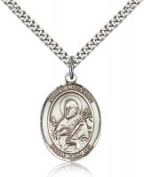 "Sterling Silver St. Meinrad of Einsideln Pendant, Stainless Silver Heavy Curb Chain, Large Size Catholic Medal, 1"" x 3/4"""