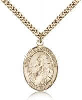 "Gold Filled St. Finnian of Clonard Pendant, Stainless Gold Heavy Curb Chain, Large Size Catholic Medal, 1"" x 3/4"""