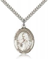 "Sterling Silver St. Finnian of Clonard Pendant, Stainless Silver Heavy Curb Chain, Large Size Catholic Medal, 1"" x 3/4"""