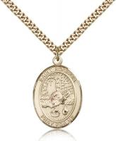 "Gold Filled St. Rosalia Pendant, Stainless Gold Heavy Curb Chain, Large Size Catholic Medal, 1"" x 3/4"""