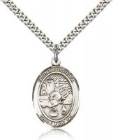 "Sterling Silver St. Rosalia Pendant, Stainless Silver Heavy Curb Chain, Large Size Catholic Medal, 1"" x 3/4"""