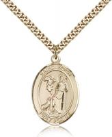 "Gold Filled St. Roch Pendant, Stainless Gold Heavy Curb Chain, Large Size Catholic Medal, 1"" x 3/4"""