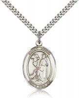 "Sterling Silver St. Roch Pendant, Stainless Silver Heavy Curb Chain, Large Size Catholic Medal, 1"" x 3/4"""