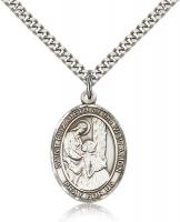 "Sterling Silver St. Elizabeth of the Visitation Pe, Stainless Silver Heavy Curb Chain, Large Size Catholic Medal, 1"" x 3/4"""