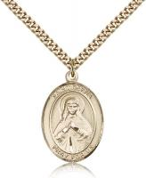 "Gold Filled St. Olivia Pendant, Stainless Gold Heavy Curb Chain, Large Size Catholic Medal, 1"" x 3/4"""