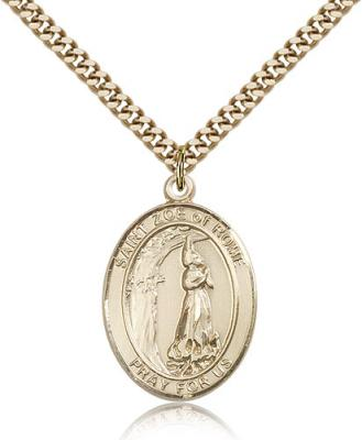 "Gold Filled St. Zoe of Rome Pendant, Stainless Gold Heavy Curb Chain, Large Size Catholic Medal, 1"" x 3/4"""