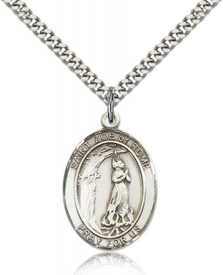 "Sterling Silver St. Zoe of Rome Pendant, Stainless Silver Heavy Curb Chain, Large Size Catholic Medal, 1"" x 3/4"""