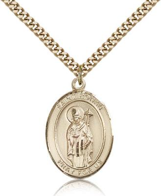 "Gold Filled St. Ronan Pendant, Stainless Gold Heavy Curb Chain, Large Size Catholic Medal, 1"" x 3/4"""