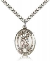 "Sterling Silver St. Ronan Pendant, Stainless Silver Heavy Curb Chain, Large Size Catholic Medal, 1"" x 3/4"""