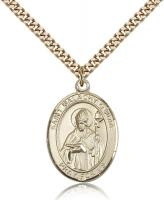 "Gold Filled St. Malachy O'More Pendant, SG Heavy Curb Chain, Large Size Catholic Medal, 1"" x 3/4"""