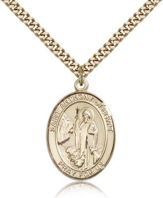 "Gold Filled St. Anthony of Egypt Pendant, Stainless Gold Heavy Curb Chain, Large Size Catholic Medal, 1"" x 3/4"""
