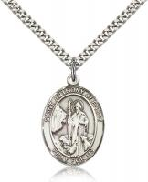 "Sterling Silver St. Anthony of Egypt Pendant, Stainless Silver Heavy Curb Chain, Large Size Catholic Medal, 1"" x 3/4"""