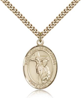 "Gold Filled St. Paul of the Cross Pendant, Stainless Gold Heavy Curb Chain, Large Size Catholic Medal, 1"" x 3/4"""