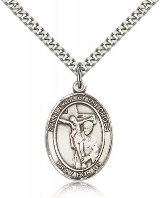 "Sterling Silver St. Paul of the Cross Pendant, Stainless Silver Heavy Curb Chain, Large Size Catholic Medal, 1"" x 3/4"""