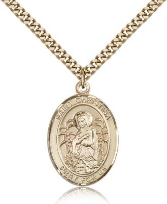 "Gold Filled St. Christina the Astonishing Pendant, Stainless Gold Heavy Curb Chain, Large Size Catholic Medal, 1"" x 3/4"""