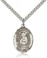 "Sterling Silver St. Christina the Astonishing Pend, Stainless Silver Heavy Curb Chain, Large Size Catholic Medal, 1"" x 3/4"""
