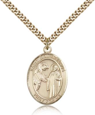 "Gold Filled St. Columbanus Pendant, Stainless Gold Heavy Curb Chain, Large Size Catholic Medal, 1"" x 3/4"""