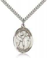 "Sterling Silver St. Columbanus Pendant, Stainless Silver Heavy Curb Chain, Large Size Catholic Medal, 1"" x 3/4"""