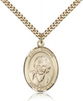 "Gold Filled St. Gianna Pendant, Stainless Gold Heavy Curb Chain, Large Size Catholic Medal, 1"" x 3/4"""