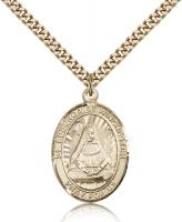 "Gold Filled St. Edburga of Winchester Pendant, Stainless Gold Heavy Curb Chain, Large Size Catholic Medal, 1"" x 3/4"""