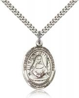 "Sterling Silver St. Edburga of Winchester Pendant, Stainless Silver Heavy Curb Chain, Large Size Catholic Medal, 1"" x 3/4"""