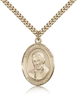 "Gold Filled St. Luigi Orione Pendant, Stainless Gold Heavy Curb Chain, Large Size Catholic Medal, 1"" x 3/4"""