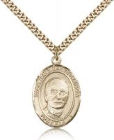 "Gold Filled St. Hannibal Pendant, Stainless Gold Heavy Curb Chain, Large Size Catholic Medal, 1"" x 3/4"""