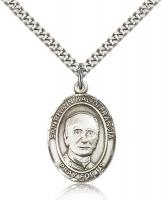 "Sterling Silver St. Hannibal Pendant, Stainless Silver Heavy Curb Chain, Large Size Catholic Medal, 1"" x 3/4"""