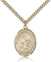 "Gold Filled St. Louis Marie de Montfort Pendant, Stainless Gold Heavy Curb Chain, Large Size Catholic Medal, 1"" x 3/4"""