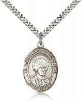 "Sterling Silver St. Louis Marie de Montfort Pendan, Stainless Silver Heavy Curb Chain, Large Size Catholic Medal, 1"" x 3/4"""