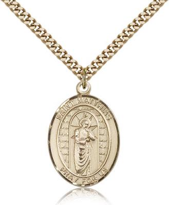 "Gold Filled St. Matthias the Apostle Pendant, Stainless Gold Heavy Curb Chain, Large Size Catholic Medal, 1"" x 3/4"""