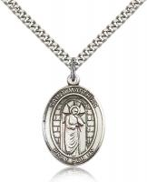 "Sterling Silver St. Matthias the Apostle Pendant, Stainless Silver Heavy Curb Chain, Large Size Catholic Medal, 1"" x 3/4"""